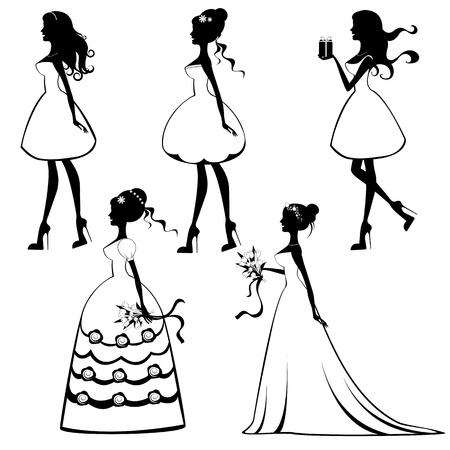 結婚式: 美しい花嫁シルエット セット  イラスト・ベクター素材