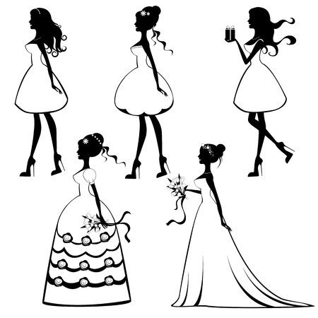 wedding ceremony: Beautiful brides silhouettes set