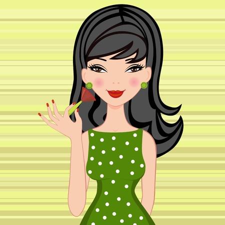 flirty: Beautiful brunette applying blusher on her cheeks