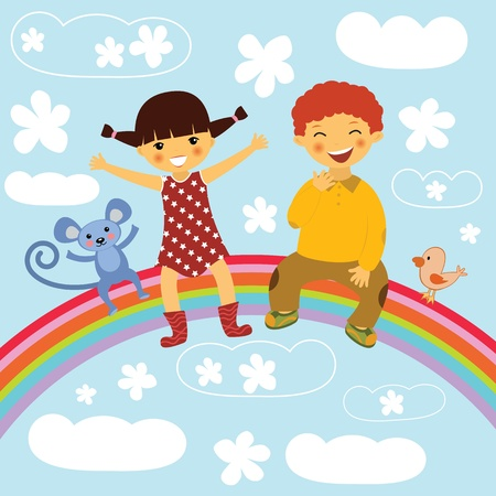 friends laughing: Kids sitting on a rainbow Illustration