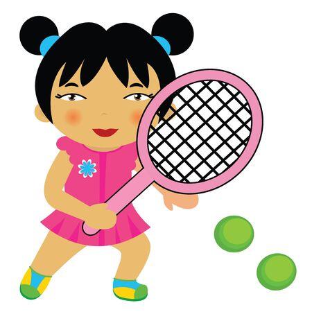 sportswoman: Little tennis player