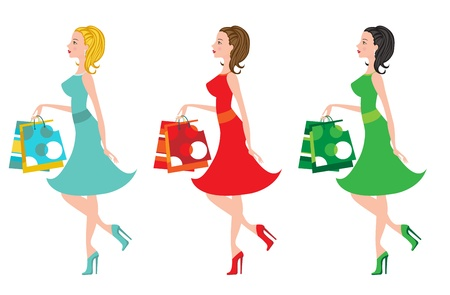 femininity: Shopping girls with different color clothing