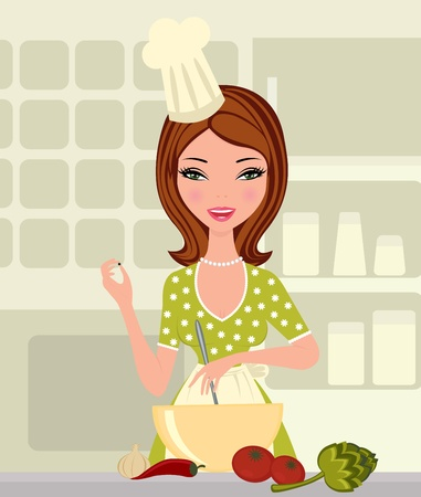 Young woman cooking Stock Vector - 10596176