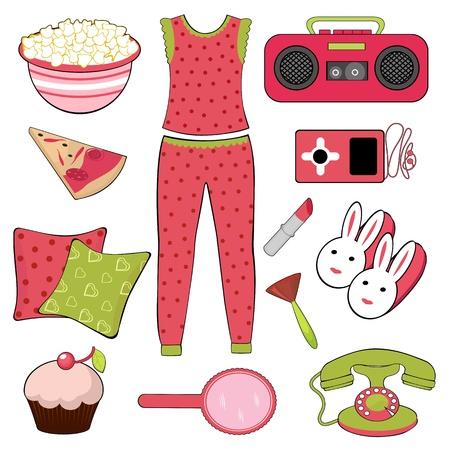 soir�e pyjama: Ensemble de sommeil parti Illustration