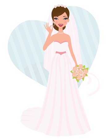 cartoon bouquet: Elegant bride