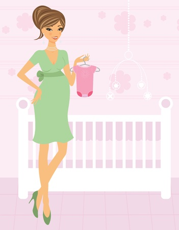 Beautiful pregnant woman in a room for her upcoming baby Vector