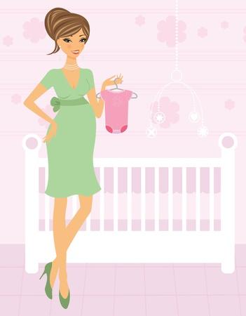 mamans: Belle femme enceinte dans une chambre de son b�b� � venir Illustration