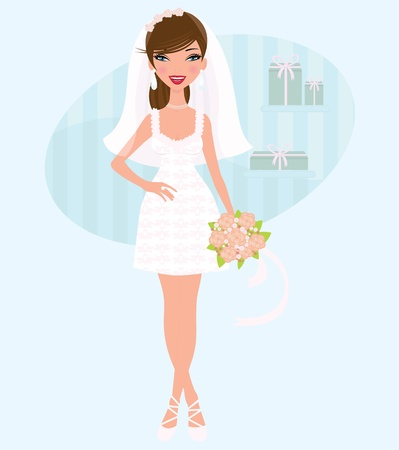 wedding accessories: Elegant bride posing Illustration