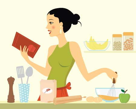baking dish: Beautiful young woman baking Illustration