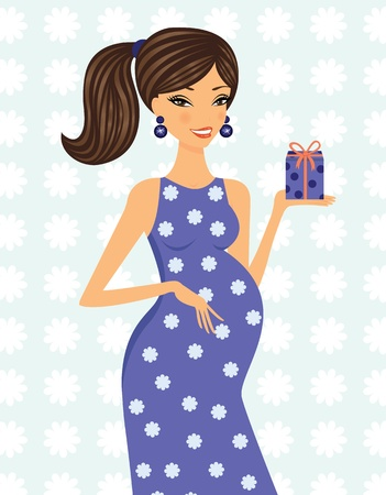 brunettes: Happy mom to be holding a gift box