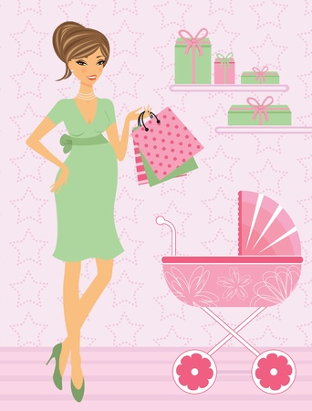 Young beautiful pregnant woman shopping for her upcoming baby Vector