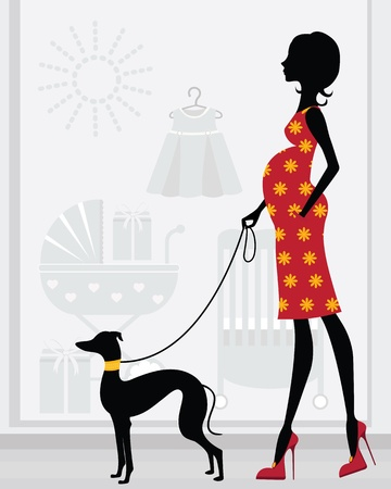 Chic pregnant woman passing by baby shop with her italian greyhound Vector