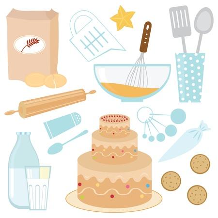 rolling pin: Baking a cake