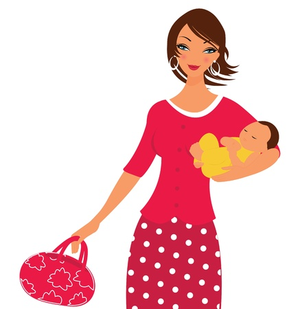 Active beautiful mom walking with her little baby Illustration