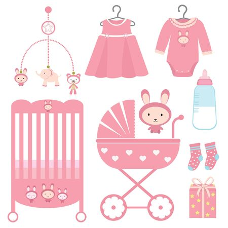 Cute baby girl showers set Stock Vector - 11012520