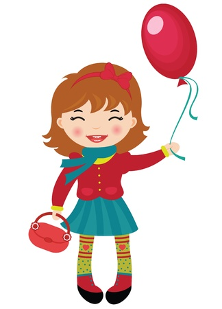 beauty smile: Happy little girl holding a red balloon Illustration