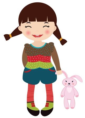 soft toy: Cute little girl holding her pink rabbit toy Illustration