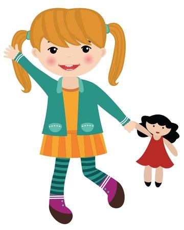 Schattig klein meisje met een pop Vector Illustratie