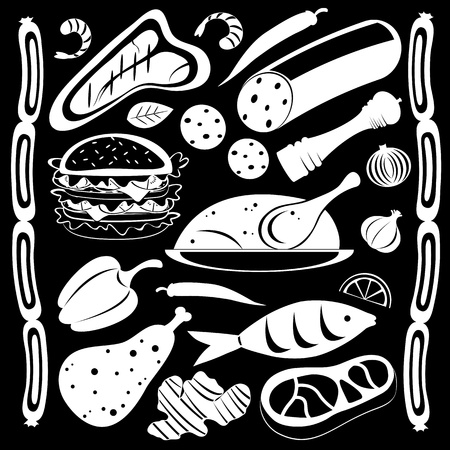 pepper mill: Black and white food pattern Illustration