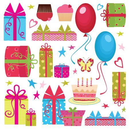 Colorful Birthday party set Vector
