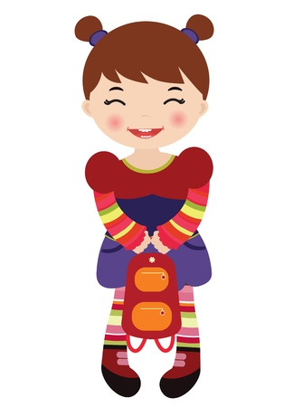 colorful dress: Little girl holding a backpack
