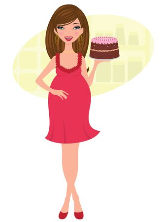 freshly baked: Pregnant woman holding a freshly baked cake