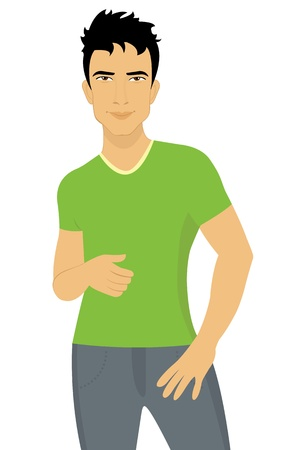 young style: Attractive young man Illustration