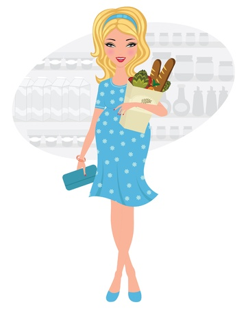 Pregnant beauty shopping for groceries Vector