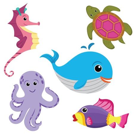 Sea life set Vector Illustratie