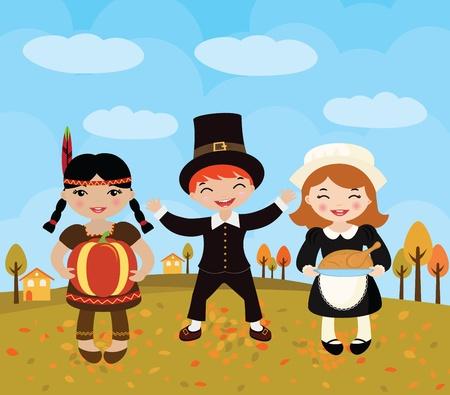p�lerin: Bonne f�te Thanksgiving Illustration