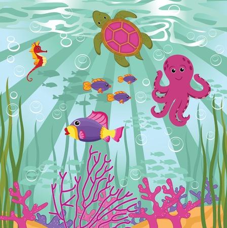 sea horse: Underwater life Illustration