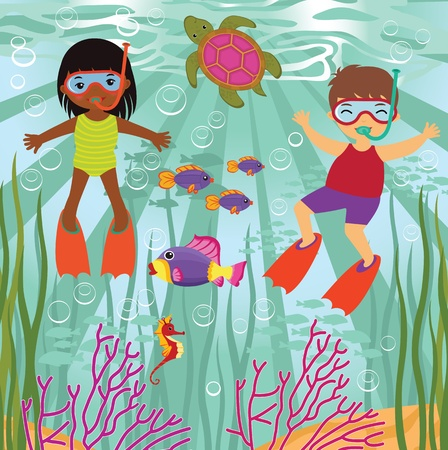 swimming underwater: Diving kids