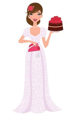 Beautiful bride holding a freshly baked wedding cake