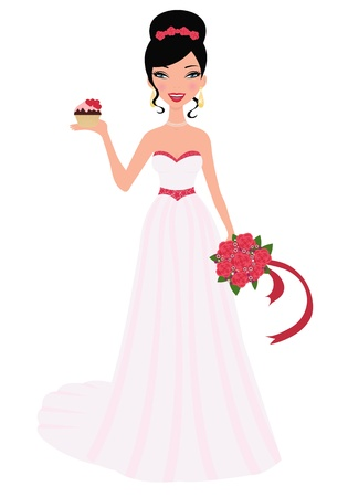 Beautiful bride holding red roses wedding bouquet and sweet cupcake