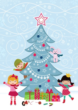 Christmas tree and happy kids Vector