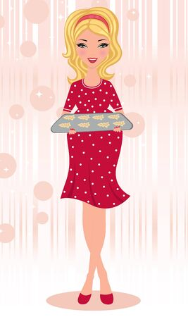 Pregnant blond holding freshly baked gingerbread cookies Vector