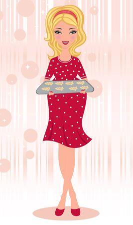 Pregnant blond holding freshly baked gingerbread cookies Illustration