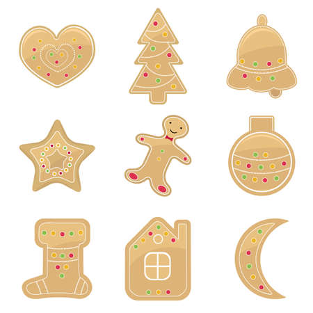 gingerbread cookies: Gingerbread cookies set Illustration