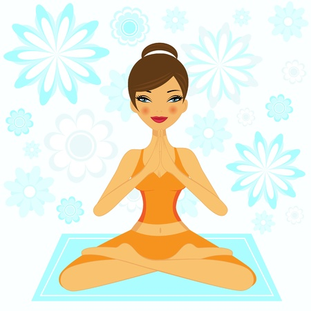 yoga meditation: Yoga Girl Illustration