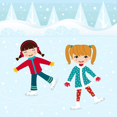 Two little girls ice skating Vector