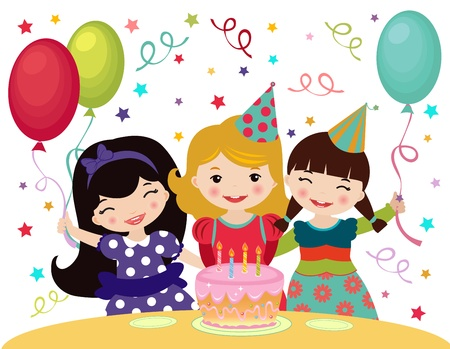 Three little girls celebrating Birthday Vector