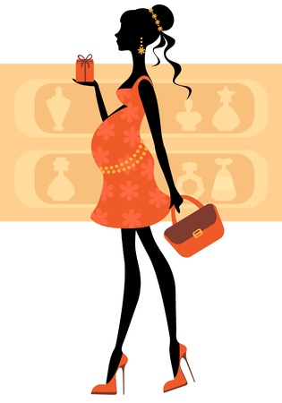 Chic pregnant woman buying perfumes Vector