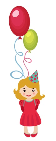 Little girl with balloons Stock Vector - 11600904