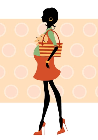 little dog: Silhouette pregnant woman walking with little dog Illustration