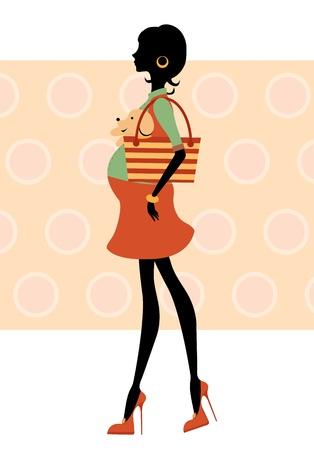Silueta de mujer embarazada caminando con perrito