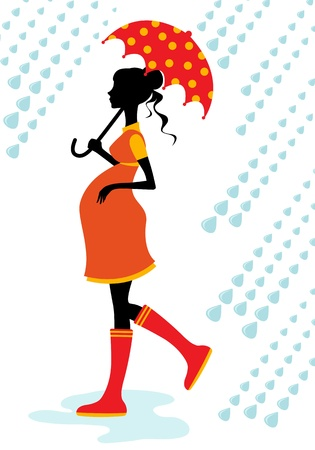 Pregnant woman walking in the rain Vector