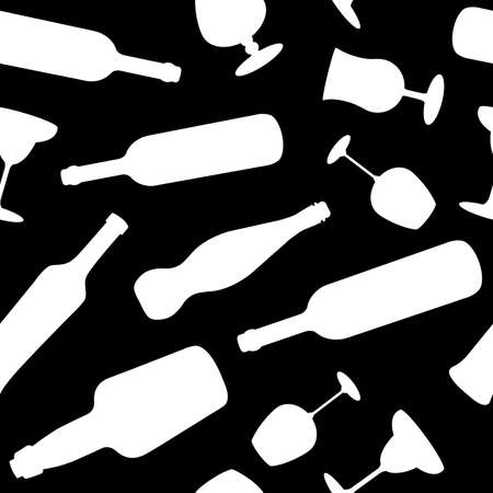 Bottles and glasses seamless pattern Vector