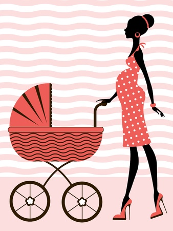 Chic pregnant woman with baby carriage Vector