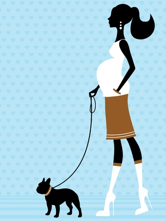 Elegant pregnant woman with french bulldog Vector