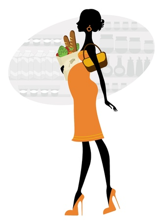 Chic pregnant woman shopping for groceries Stock Vector - 12371344